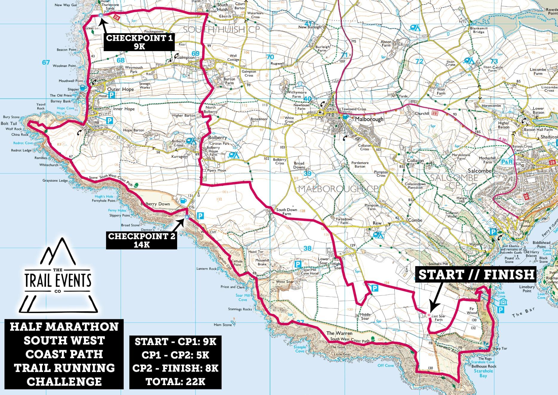 SWCP Half Marathon Route