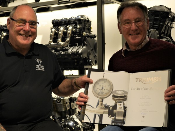 Triumph Factory Visitor Experience welcomes its 100,000th visitor, Mr Ron Sutton.
