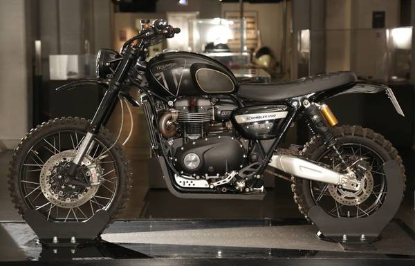 Triumph Scrambler 1200 XE action vehicle from No Time To Die on display at Bond In Motion in London