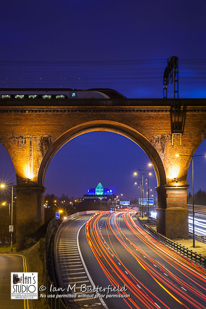 SALE 02 JAN 2018: M60 Motorway, Stockport Pyramid and Viaduct at night – FIRST Sale