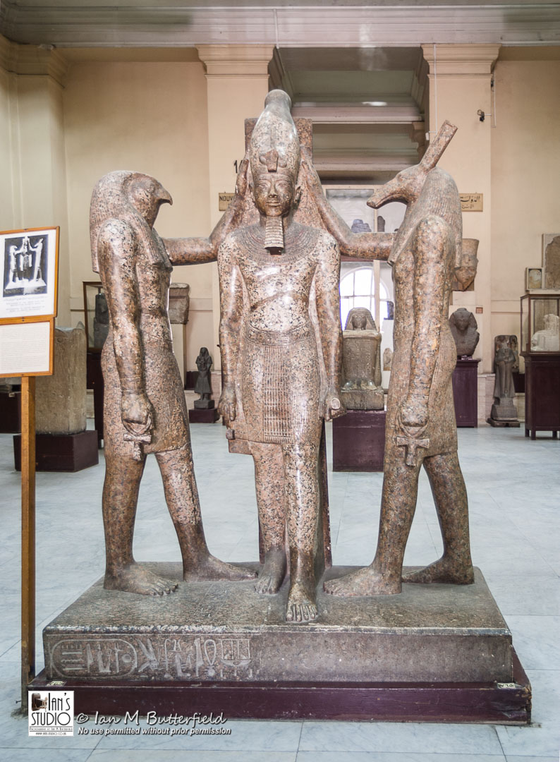 SALE 30 Aug 2018: Statue of Ramses III being crowned by Horus and Seth, Cairo Museum – FIRST Sale