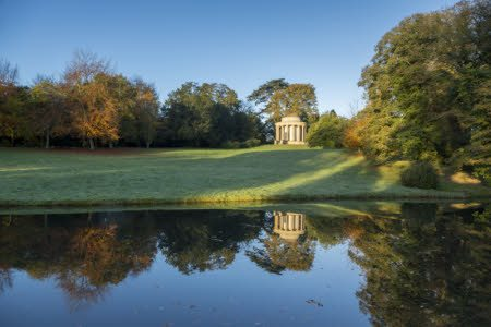 The Temple of Ancient Virtue in the autumn at Stowe, Buckinghamshire.