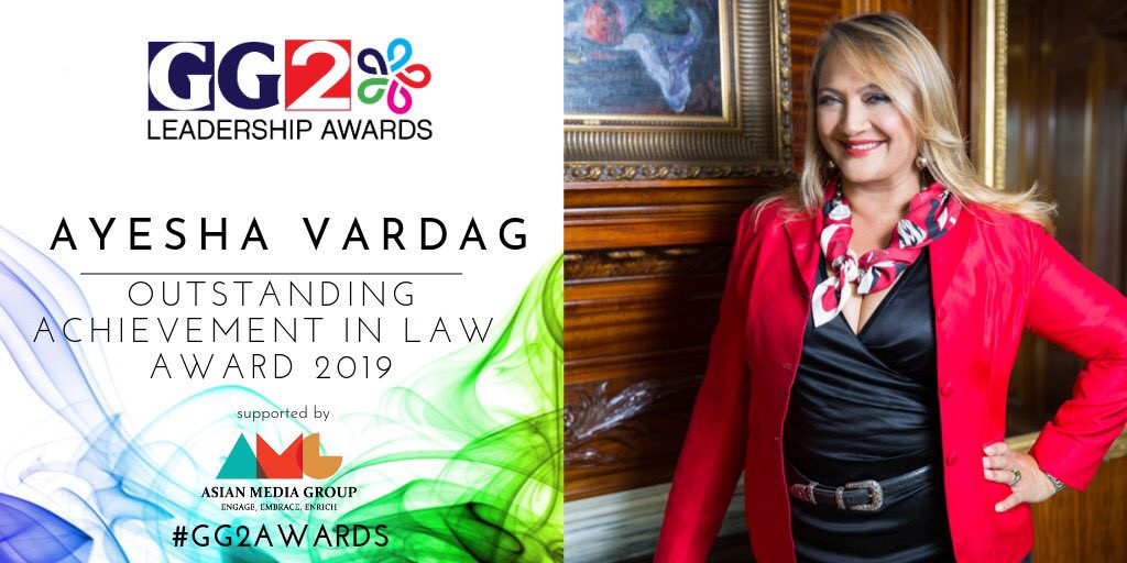 Ayesha Vardag wins Outstanding Achievement in Law Award