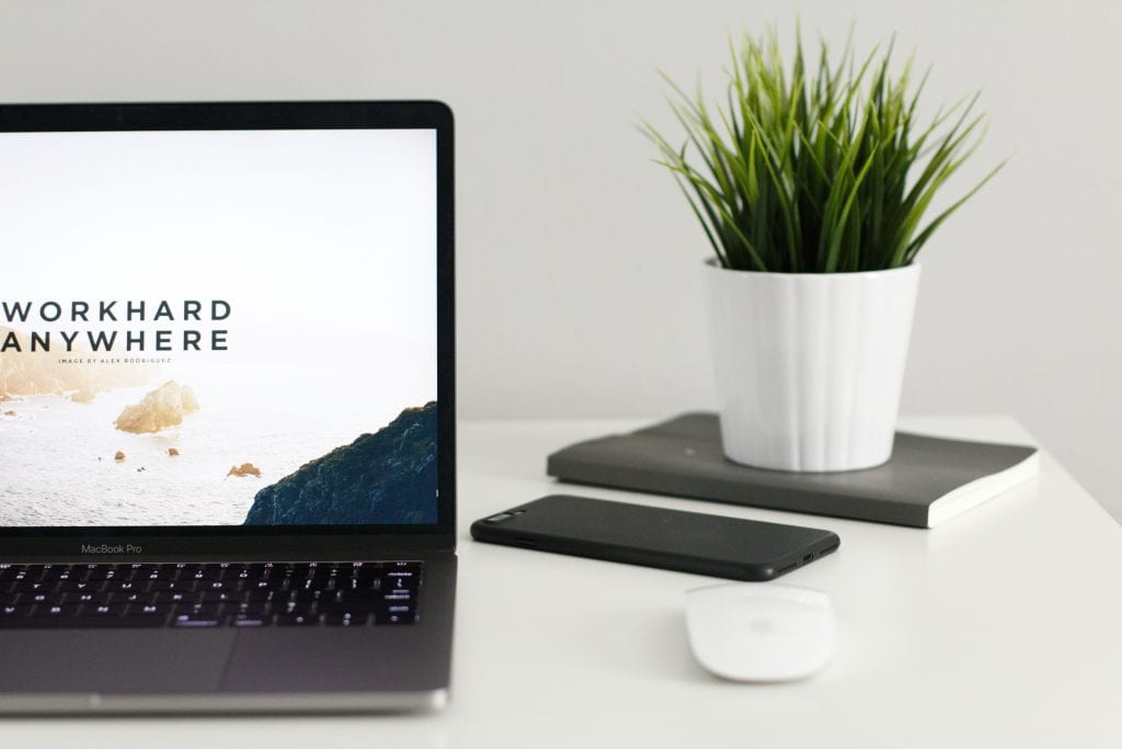 Laptop on a white desk