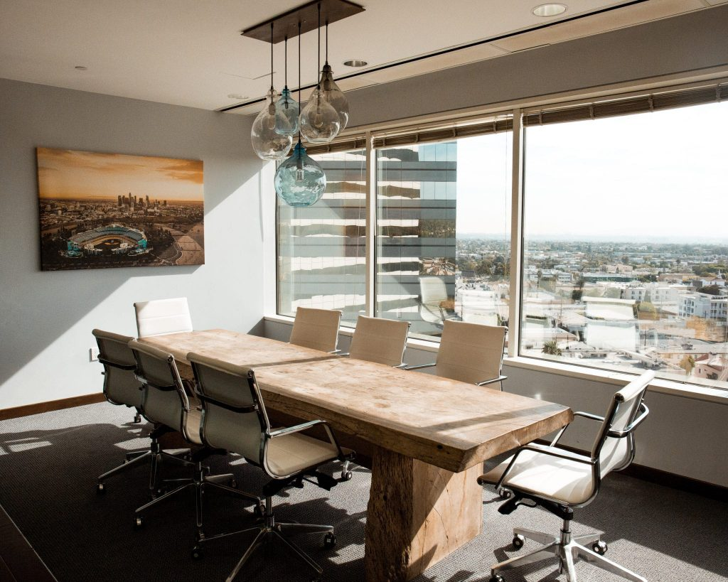 meeting room with city views