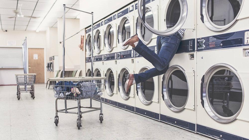 Woman in washing machine