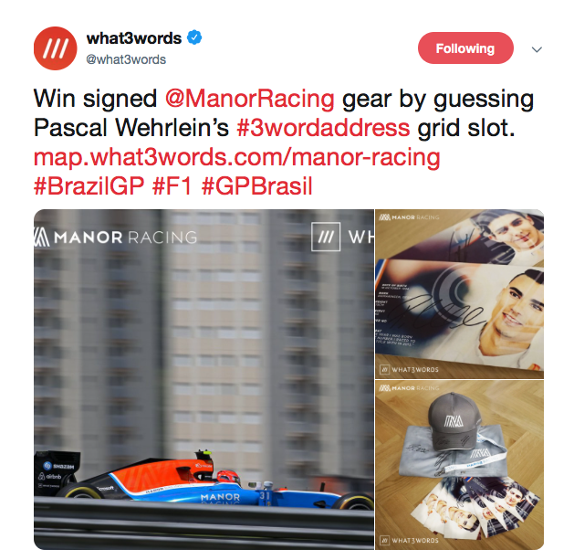 what3words Manor Racing competition tweet