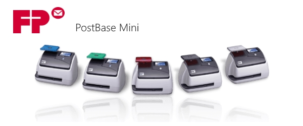 The FP PostBase Mini franking machine with multiple colour options.