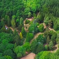 Aerial view of Camp Wildfire site. A summer weekend break in a forest near London and Kent. An outdoor woodland retreat featuring adventure activities, live music, DJs, parties and camping. Half summer adventure activity camp, half music festival, for adults only.