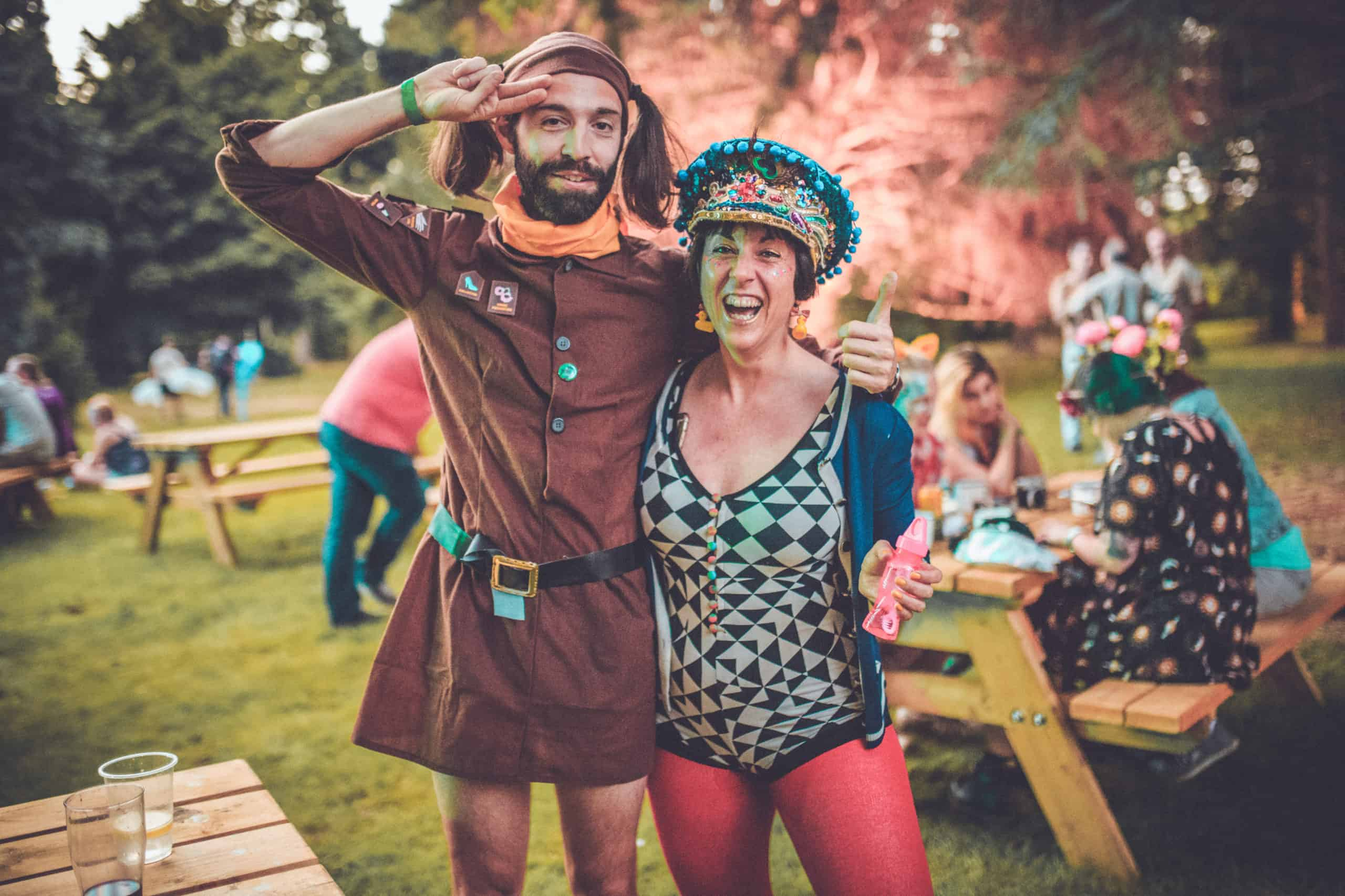 Brownie style fancy dress at Camp Wildfire. A summer weekend break in a forest near London and Kent. An outdoor woodland retreat featuring adventure activities, live music, DJs, parties and camping. Half summer adventure activity camp, half music festival, for adults only.