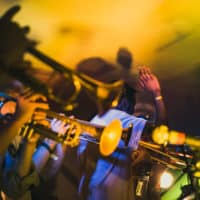 Riot Jazz trumpets at Camp Wildfire. A summer weekend break in a forest near London and Kent. An outdoor woodland retreat featuring adventure activities, live music, DJs, parties and camping. Half summer adventure activity camp, half music festival, for adults only.