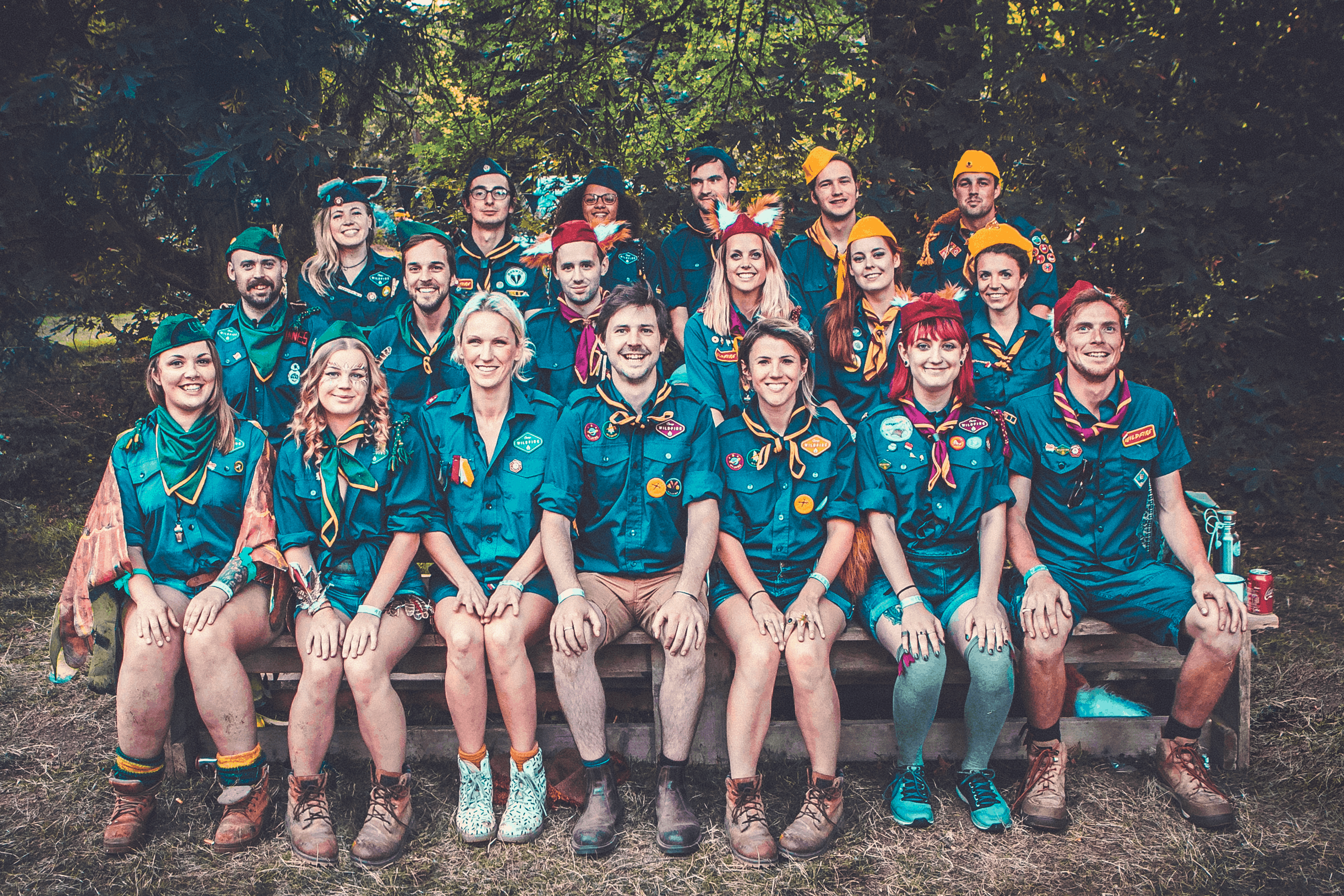 Camp Wildfire patrol leader photo. A summer weekend break in a forest near London and Kent. An outdoor woodland retreat featuring adventure activities, live music, DJs, parties and camping. Half summer adventure activity camp, half music festival, for adults only.