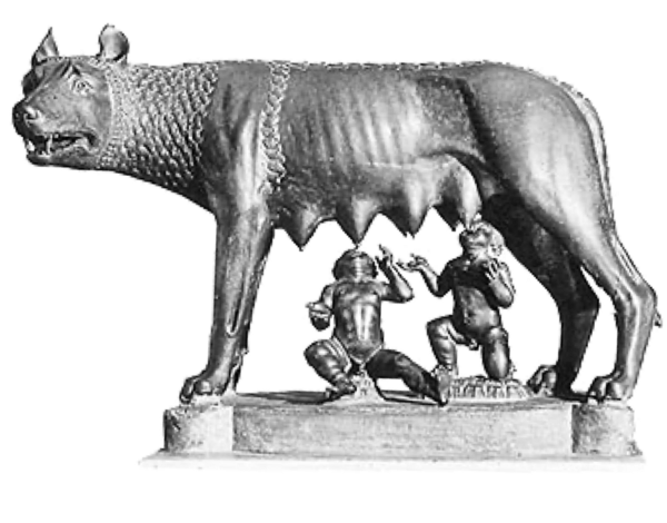 Romulus and Remus and Lupa Capitolina are the symbols of Wolfpack Digital company culture