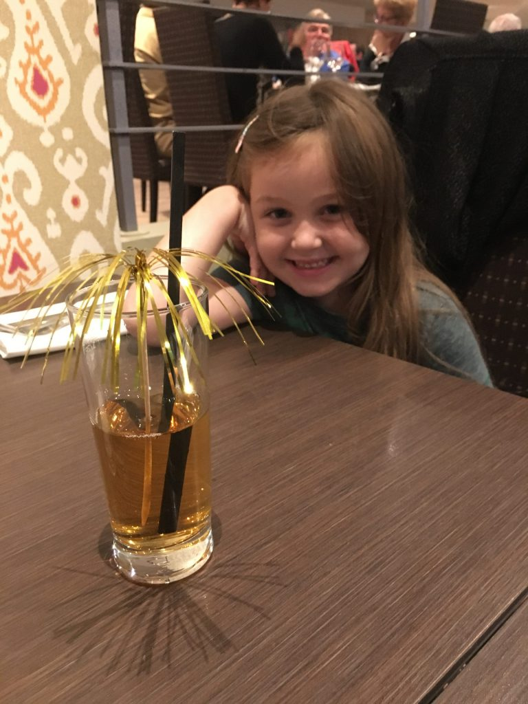 Olivia with Apple Juice at Mercure Maidstone