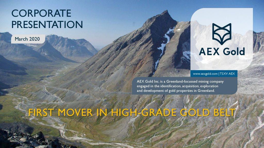 Aex Gold Corporate Presentation Corporate Presentation March 2020 Page 001