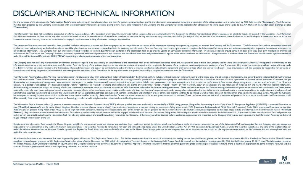 Aex Gold Corporate Presentation Corporate Presentation March 2020 Page 003