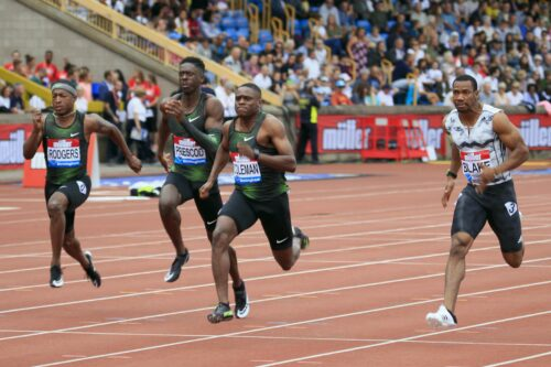 Mike Rodgers, Reece Prescod, Christian Coleman and Yohan Blake at the 2018 Birmingham Diamond League. Photo: MV4R Photography.