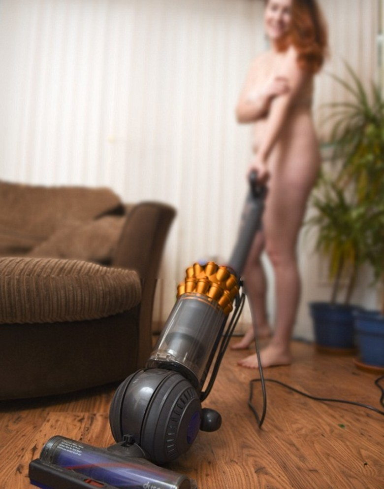 Women cleaning in the nude