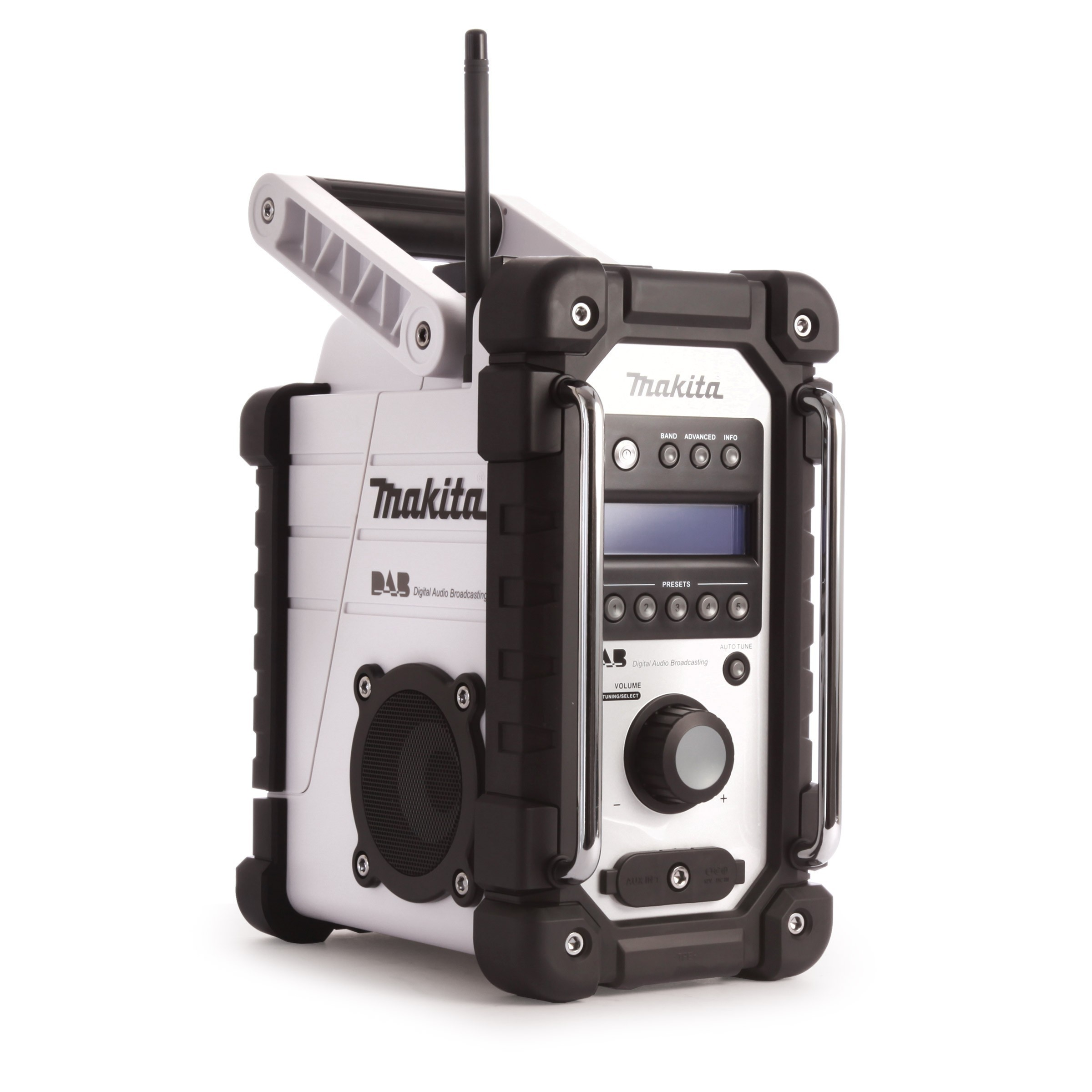1. Makita DMR104W Job Site Radio Stereo with DAB and FM - White