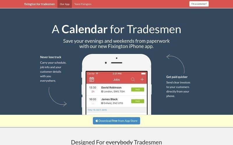 Fixington Calendar for Tradesmen