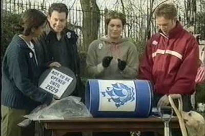Builders dig up Blue Peter time capsule 33 years early and smash it open
