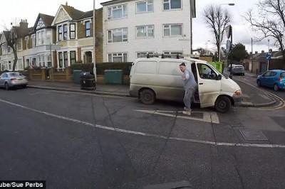 White van man shamed into picking up his litter