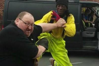 Van Driver Assaults Man with Crazed Karate Kicks
