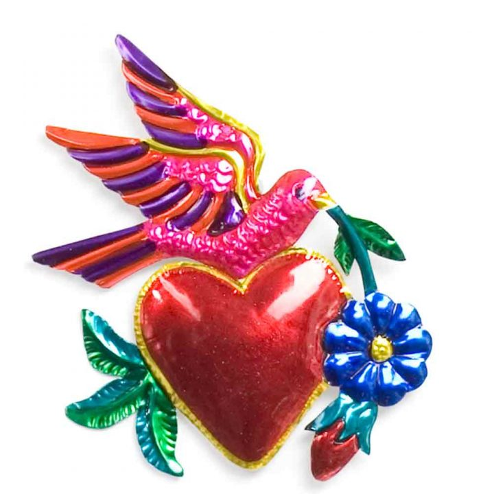 hand made tin hearts and birds decorations