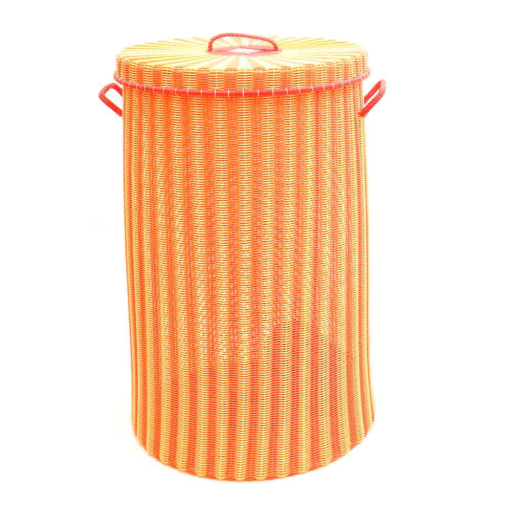 orange and yellow large laundry baskets