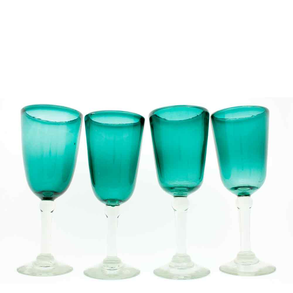 Azul real bell wine glass hand made in mexico