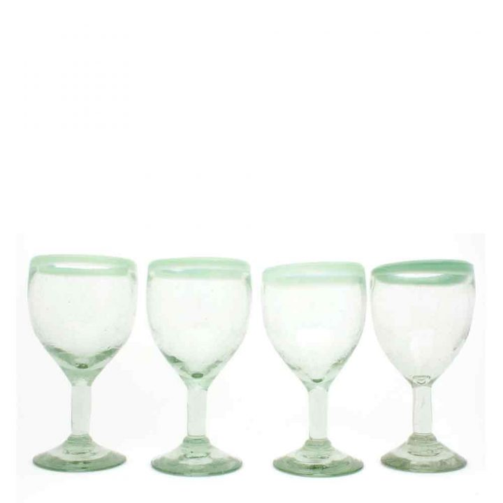 clear with a green rim wine glass hand made in mexico from recycled glassware