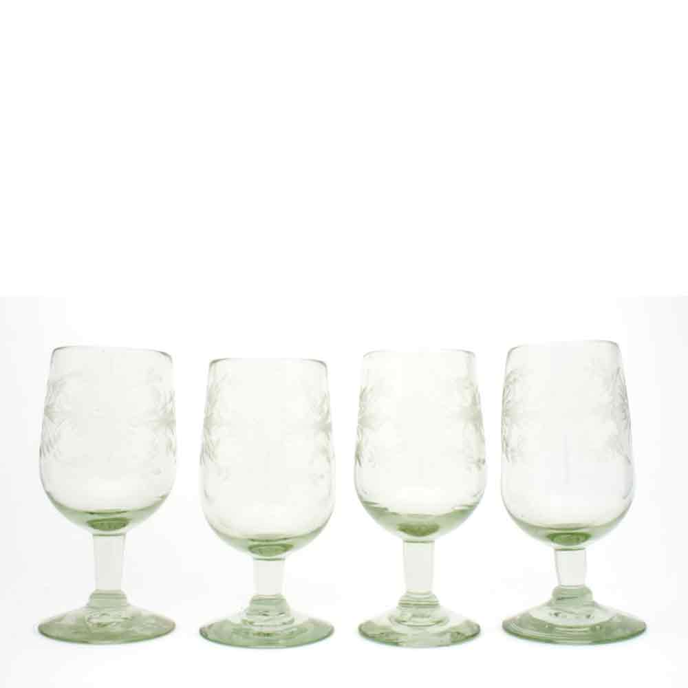 engraved clear wine glass made from recycled glass