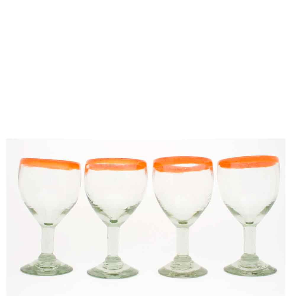 clear with an orange rim recycled hand made wine glass.