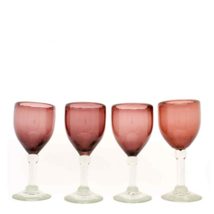 recycled plum wine glasses hand made in Mexico