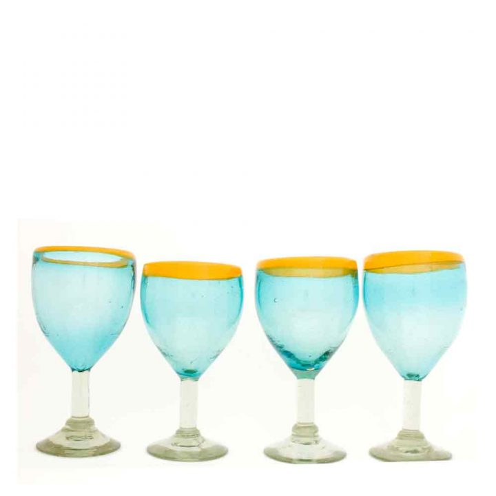 turquoise and yellow wineglass
