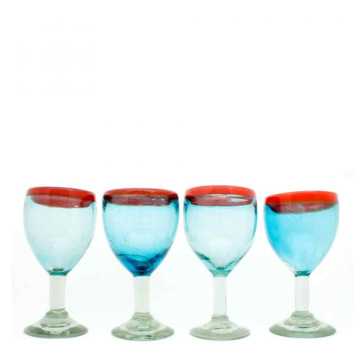 recycled wine glasses hand made in Mexico
