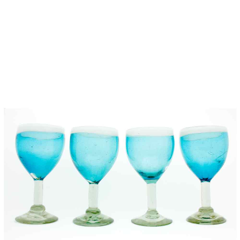 turquoise and white recycled hand made wineglass