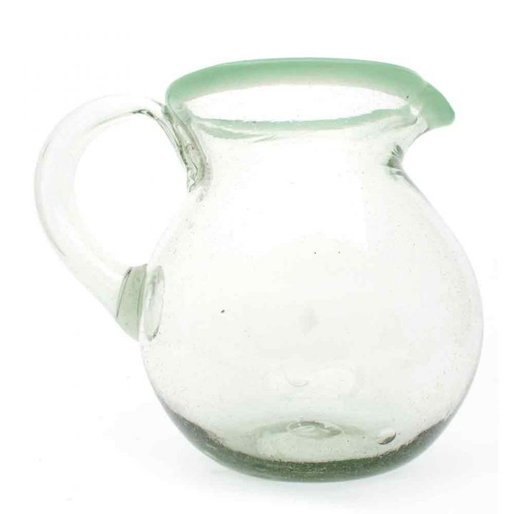 clear with a green rim round jug hand made in mexico