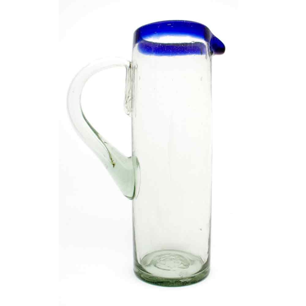 clear with a blue rim straight jug