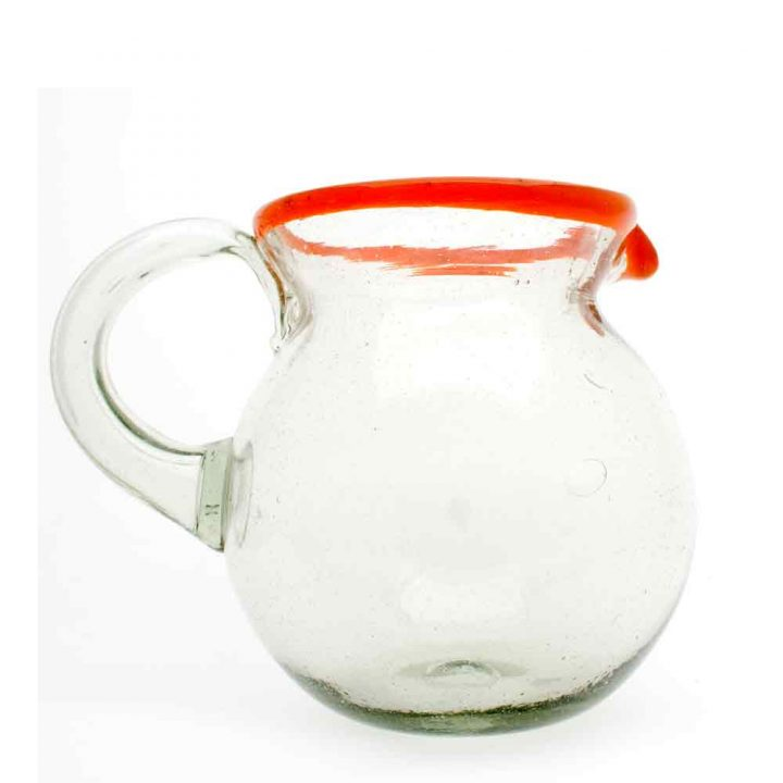clear with a red rim jug