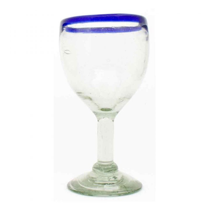 clear with a blue rim wineglass hand made in mexico from recycled glass.