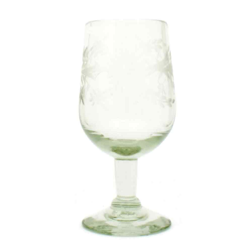 clear engraved wine glass