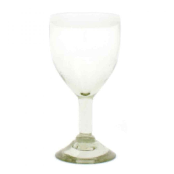 clear with a white rim wineglass hand made in Mexico from recycled glass.