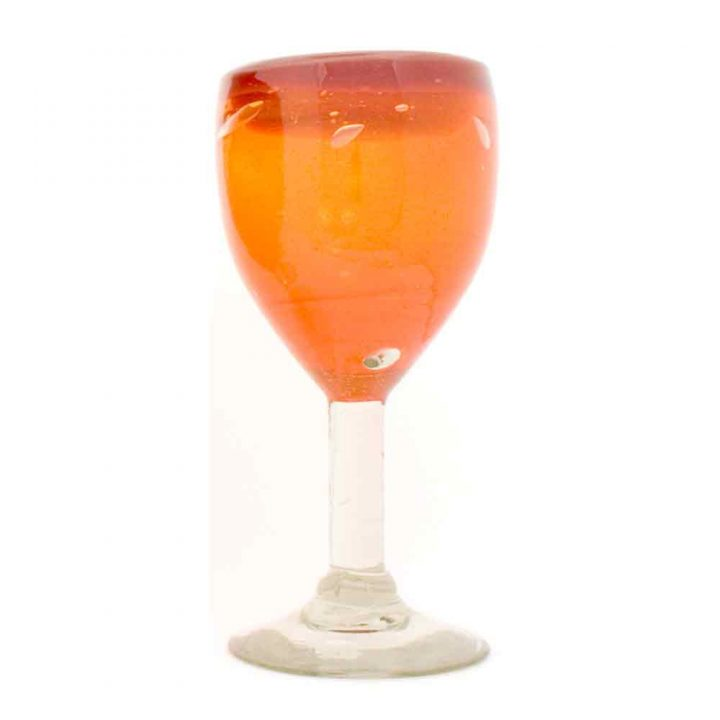 orange and red wineglass hand made from recycled glass