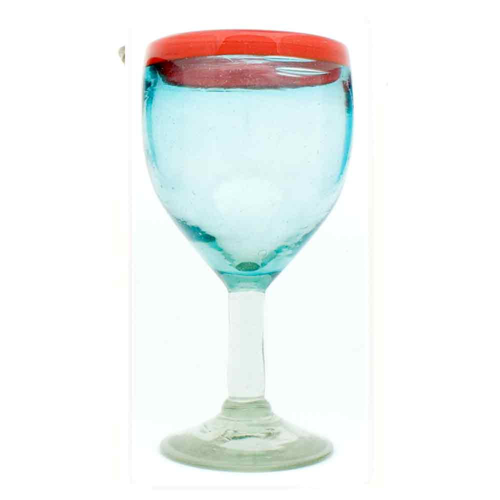 coloured recycled wine glasses hand made in Mexico