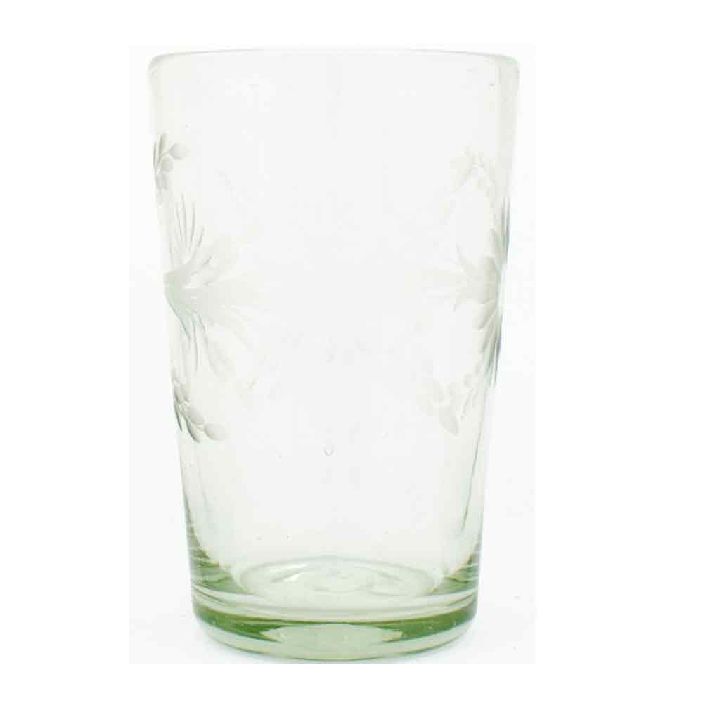 engraved hand made recycled glass tumbler from Mexico