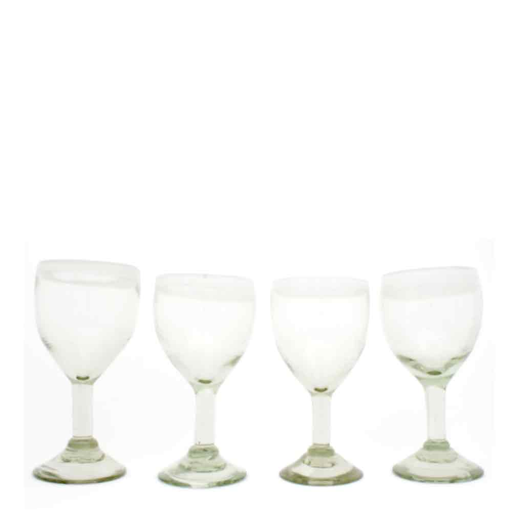 clear with a white rim wine glass hand made in mexico from recycled glassware