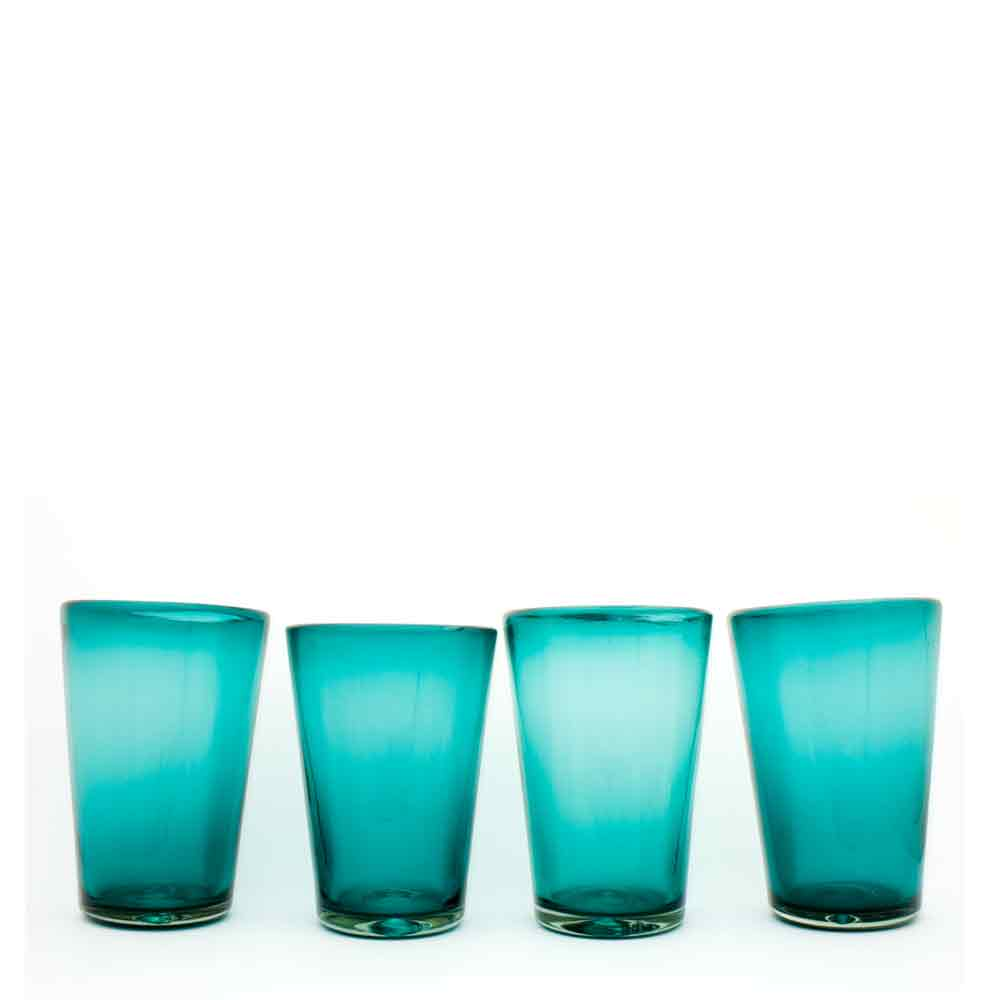 azul real flared tumblers hand made from recycled glass.