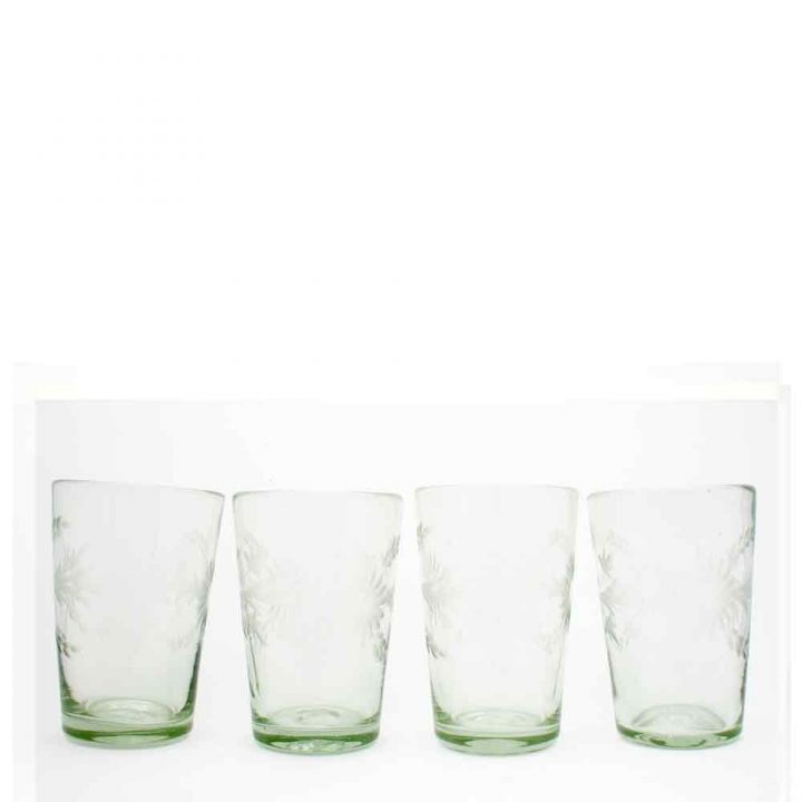 engraved hand made clear flared tumblers from Mexico