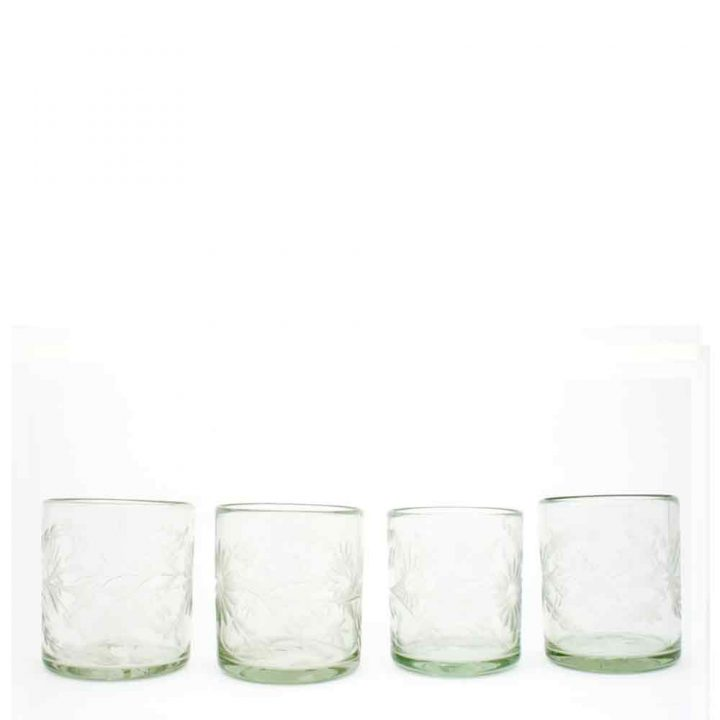 engraved, clear, recycled, roca tumblers hand made in Mexico
